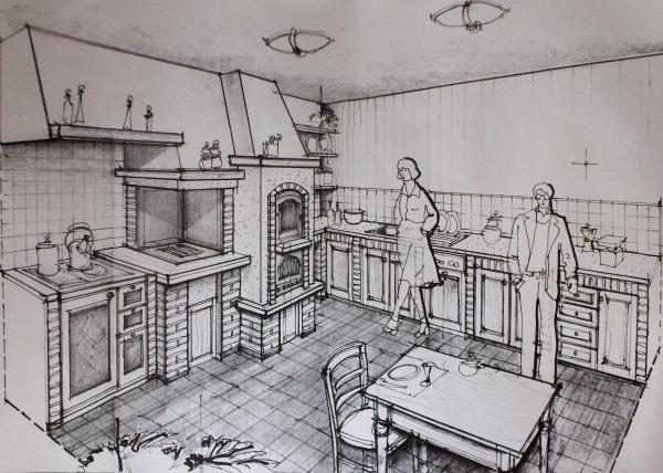 Caminetti In Cucina Moderna : Cucina in muratura moderno bigini caminetti